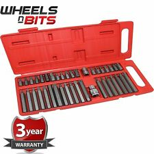 "40 Pc Torx Hex Star Spline Socket Bit Set 1/2"" 3/8"" Drive Power Tool Bits Garage"