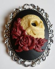 Day of The Dead Sugar Skull & Red Roses Cameo Brooch Gothic Steampunk Halloween