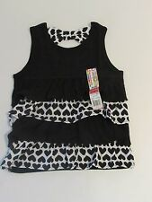 NWT Black & White Hearts Layered Tank Top w/ Bow Detail on Back Toddler Girs 2T