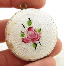 Vintage Elgin American Guilloche Enamel Photo Necklace Pendant Locket