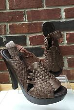 $240 7 For All Mankind Taffy Shoes Wedge Platform Heels Brown Leather sz 9 RARE*