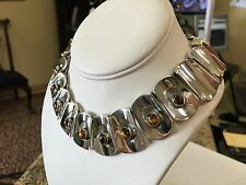 Vintage Mod Sterling Silver Mexico Tiger's Eye Necklace
