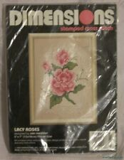 NEW Vintage 1992 DIMENSIONS Stamped Cross Stitch Kit Gorgeous Pink LACY ROSES