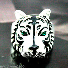 19mmX19mm Tiger Head Green Crystal Eyes Ring Tibetan Silver Size 10 Men's Jewel