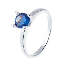 Fashion jewelry White Gold Filled Engagement Womens Blue Crystal Ring Size 8