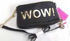 BETSEY JOHNSON WOW Club Party Light Up Shoulder Bag Black /Gold Details New
