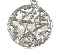 Wiccan Pentacle Pendant with cosmic symbols. Pagan Gothic Protection