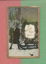 Adorable GIRL, WOOD SLED On Beautiful Vintage 1910 NEW YEAR Postcard