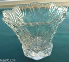 Beautiful Estate Heavy Pressed Glass Rose-Starburst Scalloped Votive, Vase, Bowl