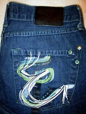 Marc Ecko Cut & Sew Boot Cut Mens Dark Denim Jeans Size 34 x 29.5 fancy pockets