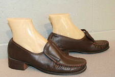 7.5 B Nos Brown Leather Vtg 70s TravLers Slip-On Chunky Heel Loafers Pumps Shoe