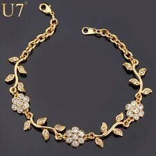 Ladies18ct Gold Filled Plated Austrian Crystal Flower Beaded Link Bracelet 8""
