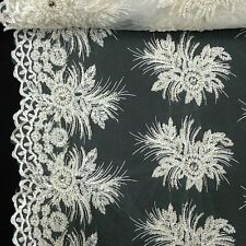 """Off White Bridal Gloriosa floral Lace Sequin Beaded Scallop Fabric Dress 52"""" BTY"""