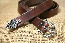 Langgürtel Mittelalter Wikinger Leder braun 165 cm 2 cm breit Viking Silber