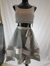 MISSES BEADED CROP TOP SILK ORGANZA TIERED 2 PC DRESS TERANI COUTURE 2 AS IS