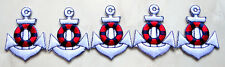 Lot of 5 Cute Pretty White Anchor Small Embroidered Iron on Patches Free Postage