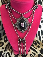 Betsey Johnson Vintage Girl Skull Bow Cameo Vicki Victorian Bow Necklace RARE