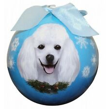 Poodle White Christmas Ornament Dog Shatter Proof Ball Snowflakes Blue Wreath