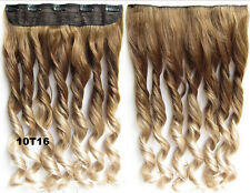 "20""Heat resistant cosplay clip in synthetic hair extension wavy Ombre 10/16"