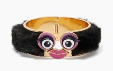 KATE SPADE 12K Gold Plated Monster Cuff Hinged Bangle Bracelet w/ Dust Bag