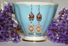 Vintage 1920s Deco Czech Light Peach marcasite Austrian silver dangle earrings