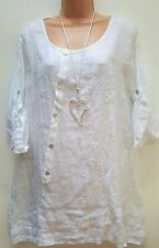 New Lagenlook White 100% Linen Button Front Tunic  Top onesize uk 10 12 14 16