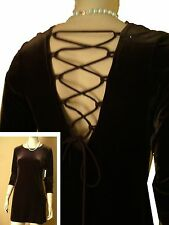 New VELVET PIXIE DRESS w LACE-UP BACK  sz 7-8 by L.A. GLO Made in USA Brown MINI
