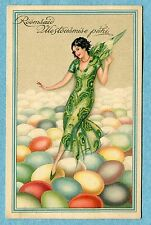 """G9376   Postcard  """"Happy Easter""""  Fairy in Green on Decorated Eggs"""