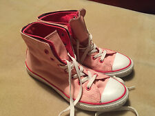 Women's Kid's Converse All Star Pink Double Skin Hi Tops Boots Trainers Size 4