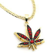 """14k Gold Plated Marijuana Red CZ Stone Pendant 24"""" Gucci Chain Necklace"""