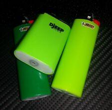 Refillable Djeep Lighter Adjustable Flame Butane LIME GREEN