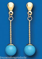 Yellow Gold Drop Earrings Set With Real Turquoise Rounds