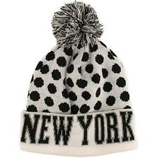 Men's New York Team Sport Polka Dot Chunky Stretch Knit Beanie Ski Hat Cap White