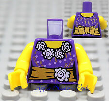 NEW Lego Female Gold Dark Purple MINIFIG TORSO Girl White Flowers Princess Shirt