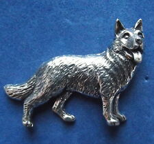Pewter Alsation German Shepherd Dog Brooch Pin  Quality