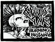 BLACK & WHITE CHAOS UK BURNING BRITAIN HC ANARCHY DIY PUNK 1977 PRINTED PATCH
