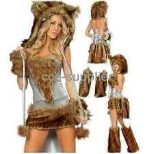 Women Sexy Wolf Costumes Hot Wild Girl Furry Big Tail Cosplay Halloween Dress