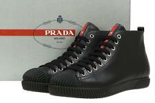 NEW PRADA BLACK LEATHER LOGO WEDGE PLATFORM  HIGH TOP SNEAKERS SHOES 41/US 11
