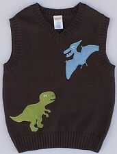 NWT GYMBOREE BROWN DINO MIGHTY DINOSAUR SWEATER VEST 12-18 MO Free US Shipping