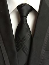 New Classic Geometric Black JACQUARD WOVEN 100% Silk Men's Tie Necktie