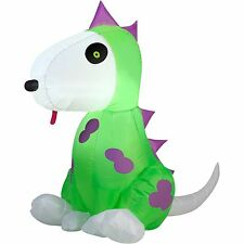 Inflatable Happy Dinosaur Dog Outdoor Lawn Holiday gemmy airblown Halloween 3.5'