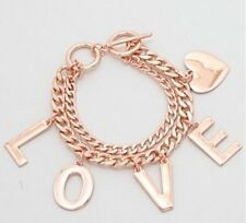 Rose Gold Copper Link Curb Chain LOVE Heart Chunky Charm Bracelet