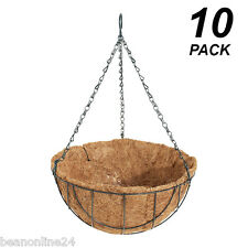 10 Pack x 30cm Hanging Baskets Garden Planters with Liner & Hang Chain