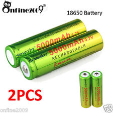 2 x5000mAh Li-ion 3.7V 18650 Rechargeable Battery For Flashlight lamp LED Torch