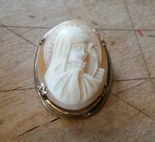 LSP/L.S.P. Co. Virgin Mary/Madonna Gold Filled Carbed Shell Cameo Pin/Brooch