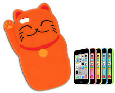 COVER CUSTODIA FLIP CASE COMPATIBILE APPLE IPHONE 5 SILICONE GATTO CAT ARANCIO Y