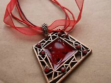 BRAND NEW RED LACE & STRANS WITH RED & BRONZE SQUARE SHAPE PENDANT.