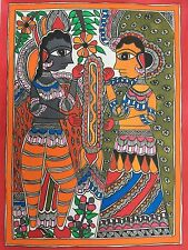 Original Madhubani Painting On Handmade Paper India Folk Art