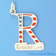 ENAMEL REPUBLICAN PARTY GOP USA .925 Sterling Silver Charm ELECTION VOTE