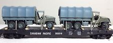 2 Johnny Lightning Pearl Harbor Day of Infamy CCKW 6x6 Troop Carrier on Flat Car